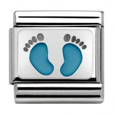 Nomination CLASSIC Silvershine My Family Blue Baby Feet Charm 330208/15