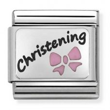 Nomination CLASSIC Silvershine Oxidised Plate Pink Christening Charm 330208/17