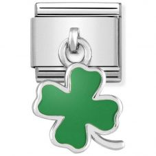 Nomination CLASSIC Silvershine Green Four Leaf Clover Drop Charm 331805/01