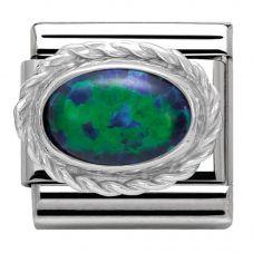 Nomination CLASSIC Silvershine Ornate Settings Green Opal Charm 330503/26