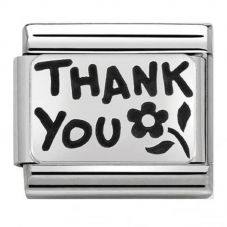 Nomination CLASSIC Silvershine Plates Oxidised Thank You Charm 330102/42