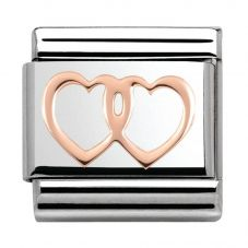 Nomination CLASSIC Rose Gold Plates Double Hearts Charm 430104/08