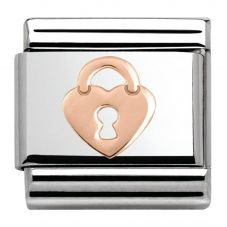 Nomination CLASSIC Rose Gold Plates Heart Lock Charm 430104/15