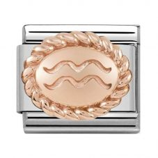 Nomination CLASSIC Rose Gold Oval Zodiac Aquarius Charm 430109/11