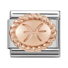 Nomination CLASSIC Rose Gold Oval Zodiac Pisces Charm 430109/12