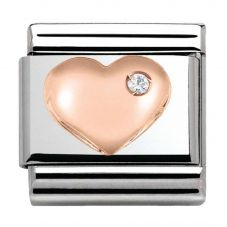 Nomination CLASSIC Rose Gold Stone Set Heart Charm 430305/01