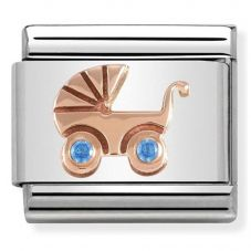 Nomination CLASSIC Rose Gold Symbols Blue Baby Carrier Charm 430305/05