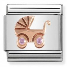 Nomination CLASSIC Rose Gold Symbols Pink Baby Carrier Charm 430305/06