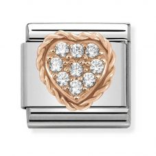 Nomination CLASSIC Rose Gold Pavé Cubic Zirconia Heart Charm 430312/02