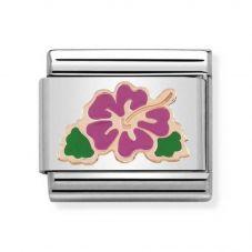 Nomination CLASSIC Rose Gold Symbols Fuchsia Hibiscus Flower Charm 430202/04