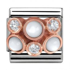 Nomination CLASSIC Rose Gold Cubic Zirconia and Pearl Cluster Charm 430307/01