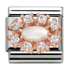 Nomination CLASSIC Rose Gold Cubic Zirconia and Pearl Traditional Cluster Charm 430308/12