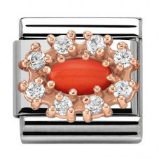 Nomination CLASSIC Rose Gold Stones Red Coral Charm 430308/11