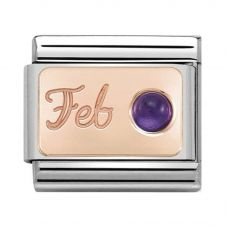 Nomination CLASSIC Rose Gold February Amethyst Charm 430508/02