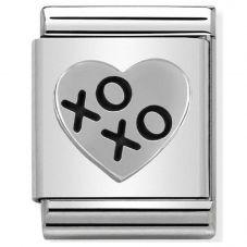 Nomination BIG Silvershine XOXO Hugs and Kisses Heart Charm 332104/03