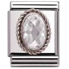 Nomination BIG Silvershine Ornate Faceted Cubic Zirconia Charm 032603/010