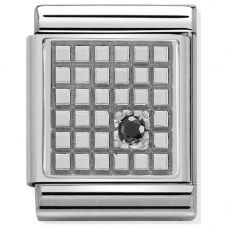 Nomination BIG Silvershine Black Cubic Zirconia Set Grid Charm 332307/02