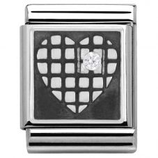 Nomination BIG Silvershine Cubic Zirconia Grid Heart Charm 332307/03