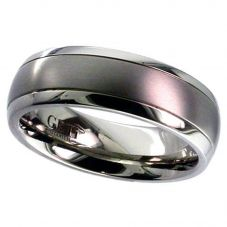 GETi Mens 7mm Titanium Matt and Polished Ring T036D