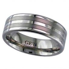 GETi Mens 7mm Titanium Matt and Polished Banded Ring 2220GP