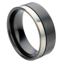 GETi 7mm Two Colour Groove Matt Polished Ring 4067RB 7CREV