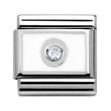 Nomination CLASSIC Silvershine Snow White Enamel Cubic Zirconia Sparkle Charm 330315/04