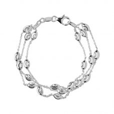 Links of London Essentials Sterling Silver Beaded Three Row Bracelet 5010.2594