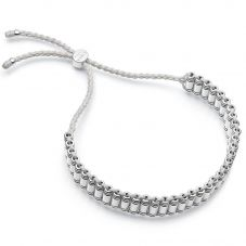 Links of London Brutalist Silver & Grey Cord Friendship Bracelet 5010.4300