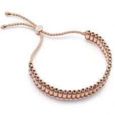 Links of London Brutalist Rose Gold Vermeil & Beige Cord Friendship Bracelet 5010.4306