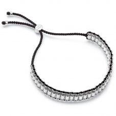 Links of London Brutalist Silver & Black Cord Friendship Bracelet 5010.4307