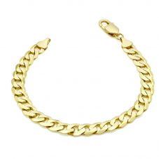 9ct Yellow Gold 8 Inch Flat Diamond Cut Curb Bracelet 1.23.3093