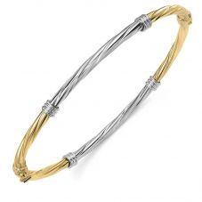 9ct Two Colour Gold Twisted Bangle BN325