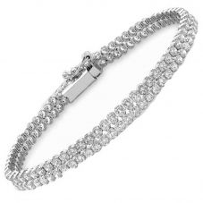 "9ct White Cubic Zirconia Double Row 7"" Bracelet 5.29.5071"