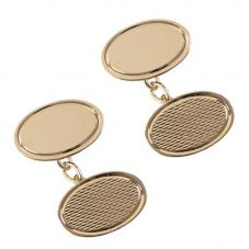 Harrison Brothers 9ct Oval Textured Chain Cufflinks 4588
