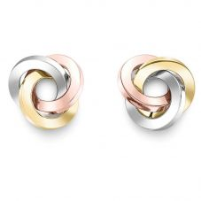9ct Three Colour Gold Knot Stud Earrings ER972