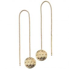 9ct Yellow Gold Textured Disc Dropper Earrings GE2108