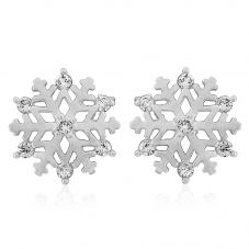 9ct White Gold Cubic Zirconia Snowflake Studs SE571