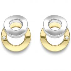 9ct Two Colour Open Circle Earrings SE584