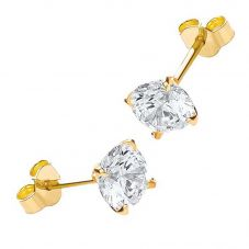 9ct Gold 6mm 4 Claw Round CZ Stud Earrings 1.58.4979