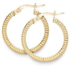 9ct Yellow Gold 20mm Patterned Hoop Earrings ER992