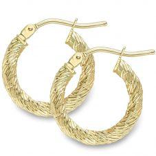 9ct Gold Patterened Hoop Earrings ER388