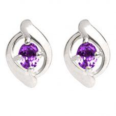 9ct White Gold Amethyst Swirl Stud Earrings 5185E/9W/AMY
