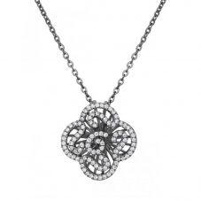 Fei Liu Cascade Silver Cubic Zironia & Black Rhodium Mini Fancy Pendant CAS-925B-304-CZ00