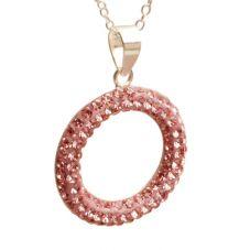 T H Baker Silver Pavé Pink Cubic Zirconia Open Pendant P-1586-PNK
