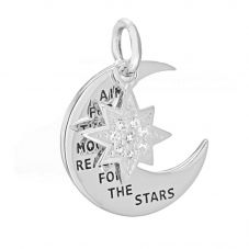 Sterling Silver Engraved Moon and Star Pendant 8.68.4229