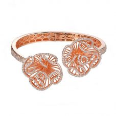 Fei Liu Cascade Rose Gold Plated & Cubic Zirconia Double Floral Spiral Bangle CAS-925P-401-CZ00