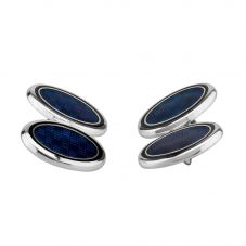 Sterling Silver Blue Weave Cufflinks SU0220A