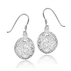 Silver Round Cut-out Drop Earrings 8-54-1879