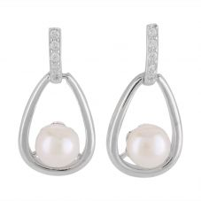 Sterling Silver Freshwater Pearl Open Teardrop Earrings EOW70096FW