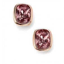 Rose Gold-Plated Oblong Crystal Earrings E4916P
